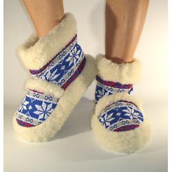 Vlnené papuče/kapce nórske svetlomodré